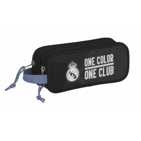 Portatodo Doble Compartimento con Asa lateral Real Madrid Negro