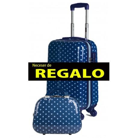 66450 03 Maleta de Cabina SKPA T, Colección Topos, en Color Tejano, con 4 Ruedas
