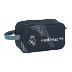 Neceser de Asa Lateral Real Madrid Dark Grey, de Doble Compartimento y Adaptable a Trolley