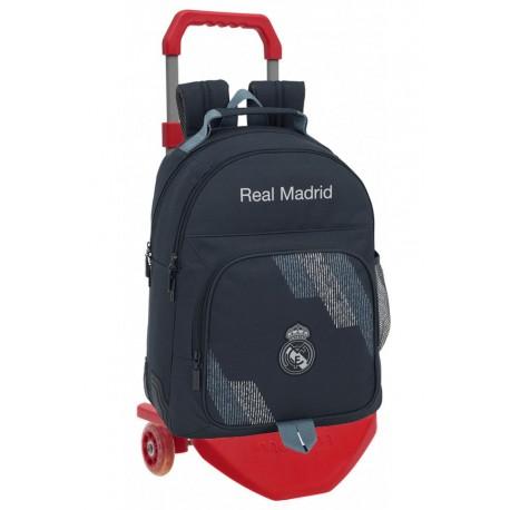 Mochila Real Madrid Carro rojo Premium, Colección Dark Grey, con Cantoneras de Goma
