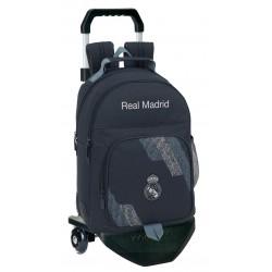 Mochila Real Madrid Carro negro Premium, Colección Dark Grey, con Cantoneras de Goma