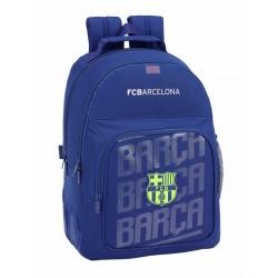 Mochila FC Barcelona Doble Compartimento con Cantoneras Reforzadas en Azul y Adaptable a Carro