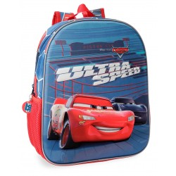 Mochila 33 cm Cars Ultra Speed, Adaptable a Carro en 3 Dimensiones