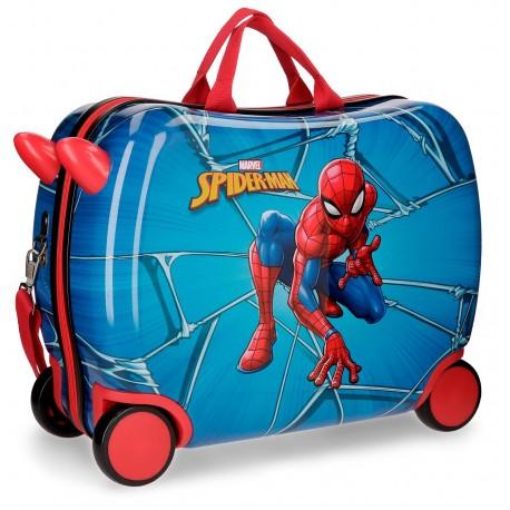 Maleta infantil correpasillos de 4 ruedas en ABS  de Spiderman Black
