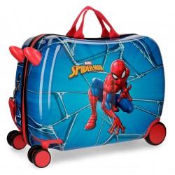 Maleta infantil correpasillos  de ruedas delanteras multidireccionables en ABS de Spiderman Black