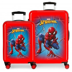 Juego Maletas Cabina y Mediana en ABS Spiderman Black