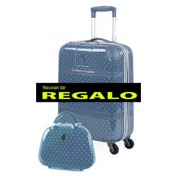 Maleta Cabina Victorio & Lucchino Lunares Azul Policarbonato 4 Ruedas Dobles