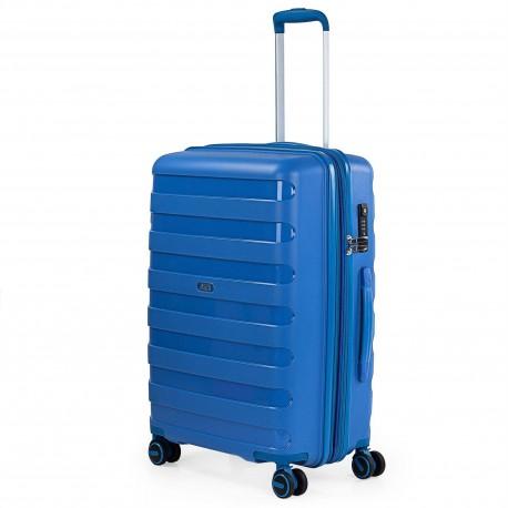 Maleta Mediana Azul Jaslen Roma Polipropileno de 4 ruedas dobles