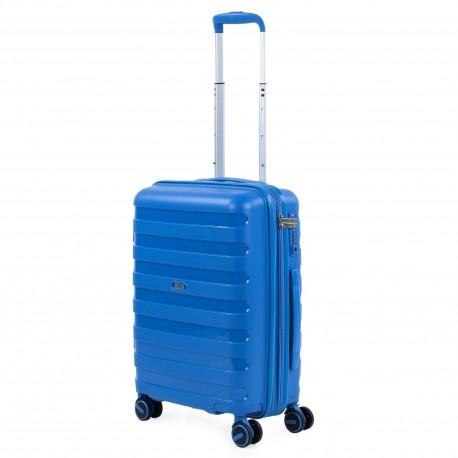 Maleta Cabina Azul Jaslen Roma en Polipropileno de 4 Ruedas Dobles