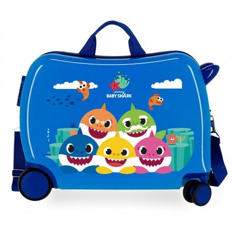 Maleta Infantil Correpasillos en AB S de 7 Ruedas Baby Shark Happy Family