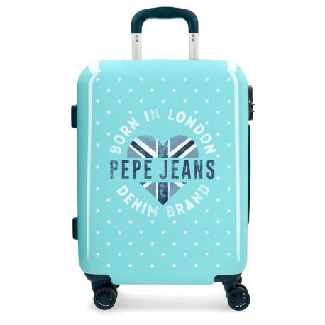 Maleta de Cabina Pepe Jeans Emory color Turquesa  de 4 Ruedas