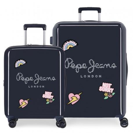 Juego de maletas Cabina y Mediana Pepe Jeans Emi en ABS de 4 Ruedas